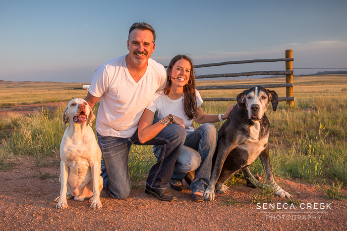 SenecaCreekPhotography.com by Allison Pluda - Beth and Jeremy Family Portraits with the Dogs and a 1966 Ford Mustang Wyoming Dirt Road Sunset